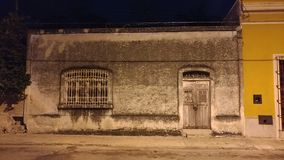 House in Merida, Mexico. Night picture of a house in the historic quarter - Merida, Mexico royalty free stock photo