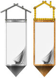 House - Meter Tool Two Banners. Two house banners - Metal and wood meter tool forming a house with blank pages and arrow stock illustration