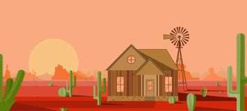 House with a mill in the red desert stock illustration