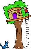 house min tree royaltyfri illustrationer