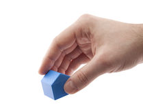 House miniature in hand. With clipping path Royalty Free Stock Photos