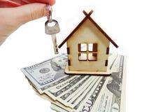 House Miniature Key In Hand Money Savings Concept Royalty Free Stock Photos