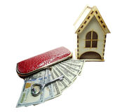 House miniature key money in wallet savings concept Royalty Free Stock Photos