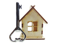 House miniature and key real estate purchase concept Stock Images
