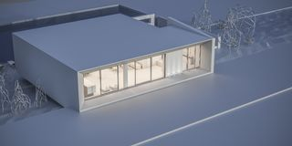 House in a minimalist style. Showroom. 3d rendering. White house in a minimalist style. Showroom. 3d rendering Stock Photos