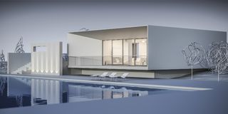 House in a minimalist style. Showroom. 3d rendering. White house in a minimalist style. Showroom. 3d rendering Royalty Free Stock Photography