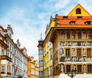 """The house """"At the Minute"""" (Dum u Minuty) in Prague. The house """"At the Minute"""" (Dum u Minuty) at the Old Town Square in Prague, Czech Republic Royalty Free Stock Images"""