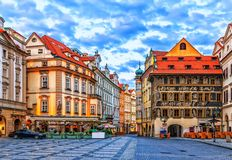 The House at the Minute in Old Town Square of Prague, Czech Republic.  stock photo