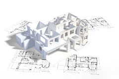 House mock-up. On top of architecture blueprints, construction drawings vector illustration
