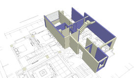 House mock-up and blueprint. Unfinished 3D house mock-up on top of architecture blueprints Stock Image