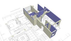 House mock-up and blueprint Stock Image