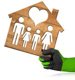 House modèle avec la famille et le coeur Photographie stock