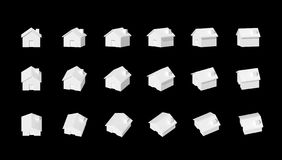 House model. White houses model on black Royalty Free Stock Photography