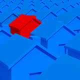 House model. Red and blue house background Stock Images