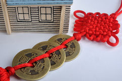 House Model And Chinese Red Decoration Royalty Free Stock Image