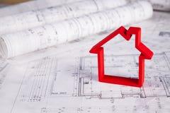 House model, architecture blueprints concept Royalty Free Stock Photos