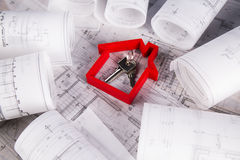 House model, architecture blueprints concept Royalty Free Stock Image