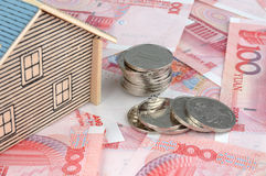 House model, bill and coin Royalty Free Stock Photography