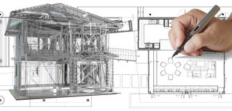 House model on blue print Stock Photography
