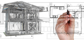 House model on blue print Royalty Free Stock Images
