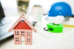 House model and blueprint Stock Photos