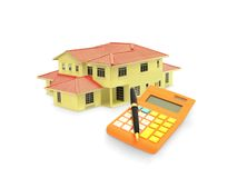 House Model with Calculator and Pen Stock Photos