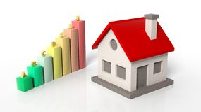 House model with chart bars Stock Photography