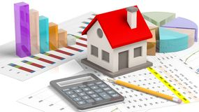 House model with chat bars and calculator Stock Photo