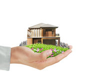 House model concept in  hand Royalty Free Stock Photo