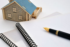 House model, fountain pen and document Royalty Free Stock Image