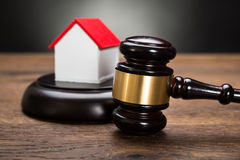House Model With Gavel Royalty Free Stock Photography