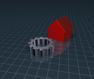 House model and gear wheel Royalty Free Stock Image