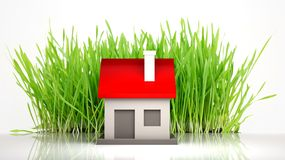 House model with grass Stock Image