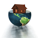 House model on the half of the earth. 3d house model on the half of the earth Royalty Free Stock Photos