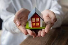 House model in hand royalty free stock images