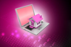House model on the laptop Royalty Free Stock Images