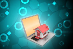 House model on the laptop Royalty Free Stock Photography