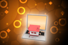 House model on the laptop Royalty Free Stock Image