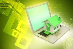 House model on the laptop Stock Photography