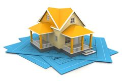 House Model On A Plan Stock Images