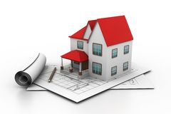 House model on a plan. 3d illustration of House model on a plan Royalty Free Stock Photography