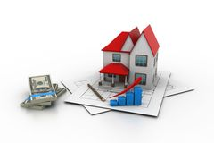 House model on a plan Stock Photos