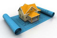 House model on a plan Royalty Free Stock Photography