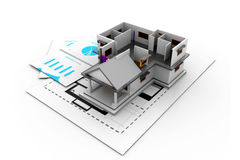 House model on a plan Stock Photos