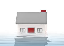House model plastic submerged under water Royalty Free Stock Photography