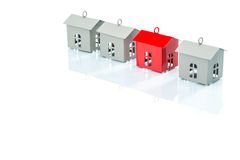 House model in a row, home choice Royalty Free Stock Image
