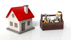 House model with tool kit Royalty Free Stock Photos