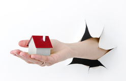 House model toy plastic in hand Royalty Free Stock Photos