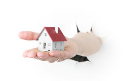 House model toy plastic in hand Royalty Free Stock Images