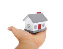 House model toy plastic in hand Royalty Free Stock Photo